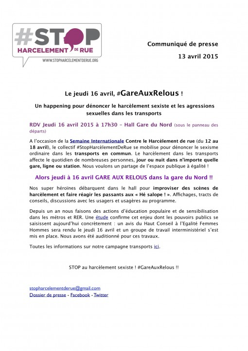16 avril action Gare aux relous - Stop harcelement de rue