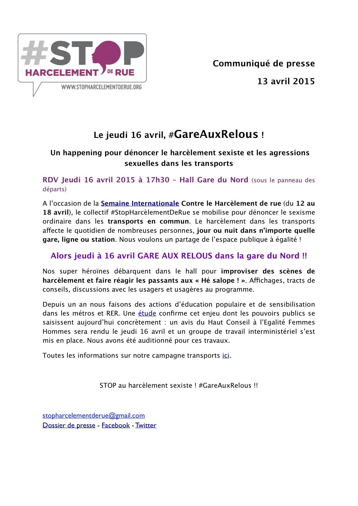 16 avril action Gare aux relous - Stop harcelement de rue