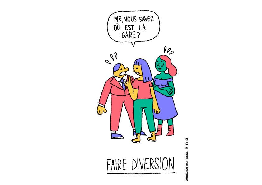 Témoin d'harcèlement de rue : faire diversion